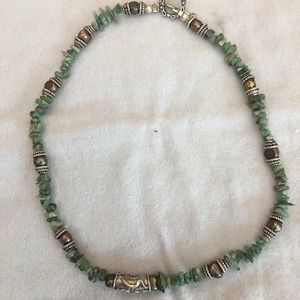 Gemstone,pearl and silver necklace